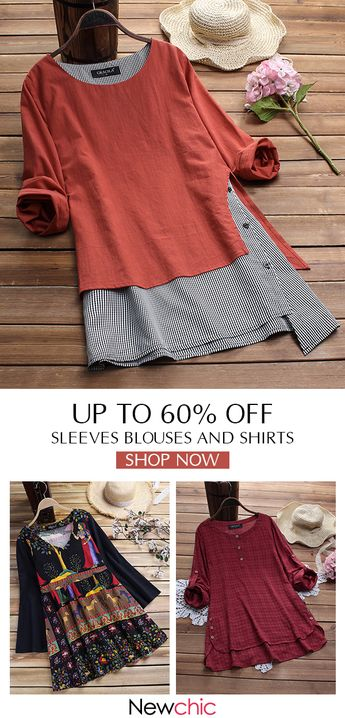 Sleeve casual t-shirts and blouses for women, best for spring, summer, and fall. Saving 60% off when you shop them in Newchic. Shop now! #women  #tops #outfits