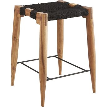 """Shop wrap 30"""" bar stool. Tribal-inspired stool in natural black-dyed jute rope warps/wefts varying tones over an open frame of solid sustainable acacia wood."""
