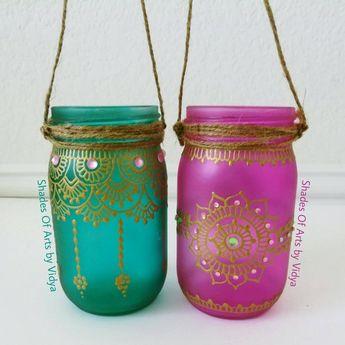 Wanderlust Bohemian Decor Mason Jar Decor Henna Candle Lant