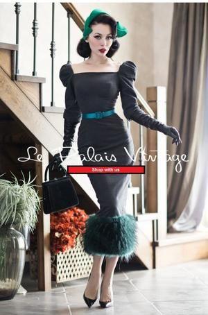 Vintage 50s pin up retro stitching woolen Pencil dress