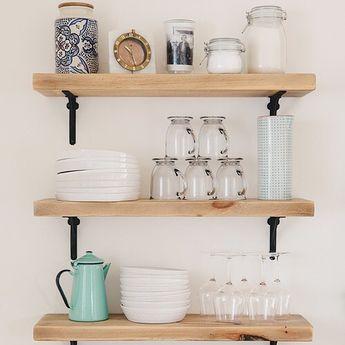 Open shelving styled like a pro. (📷 featuring our Arched Shelf Brackets via #SVKInteriorDesign) #kitchendesign #hardware #openshelving #shelfie #RejuveSpotted