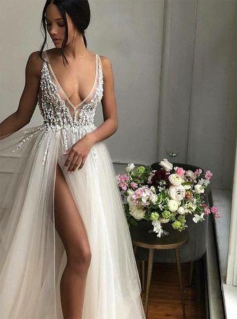 A-Line V-Neck Floor-Length Ivory Prom Dress with Beading Split