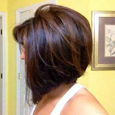 Side View of Concave Bob with Subtle Highlights