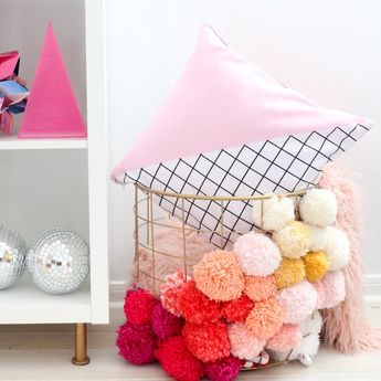Light Pink And Grid Color Blocked Throw Pillow