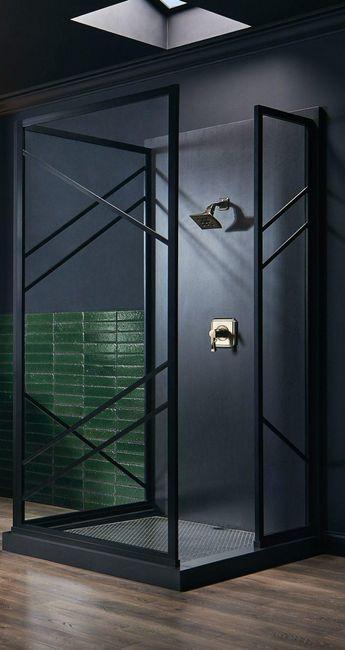 Gridscape Series 4 three-panel divided lite shower door by Coastal Shower Doors