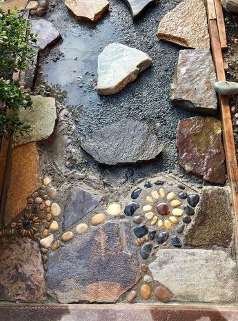 Creating A DIY Stone Mosaic Front Garden Path