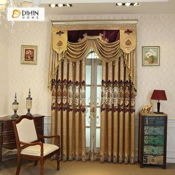 DIHIN HOME Exquisite Red FLowers Embroidered Brown Valance,Blackout Curtains Grommet Window Curtain for Living Room ,52x84-inch,1 Panel