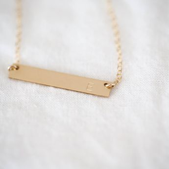 3236051cc Custom Jewelry | 14K Gold Filled Bar Necklace, Gifts for Her, Initial  Necklace,