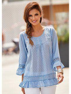 Women's romantic cotton blouse with lace seams and flounces