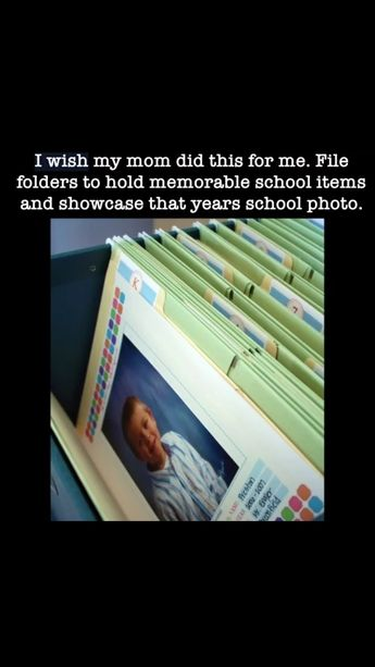 Each school year is in a folder -- includes school photo and memorable items from that year.