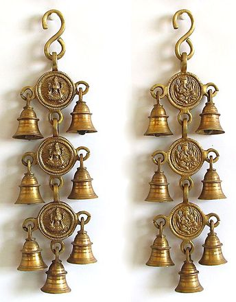 Bell with Lakshmi and Ganesha - Wall Hanging