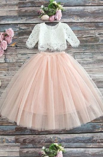 Girls Vintage Closet Lace Top & Blush Skirt Set Preorder 2 to 10 Years