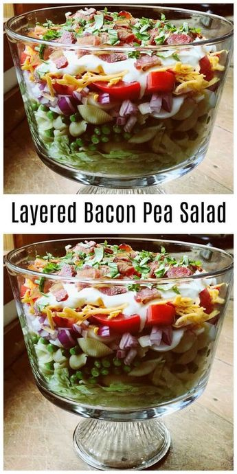 Layered Bacon Pea Salad Recipe, made with layers of pasta and peas, lettuce, cheese, tomatoes, and topped with a dressing, bacon and basil. #peasalad #layeredsalad