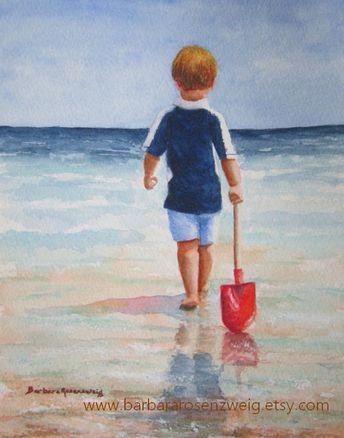 Beach Boy Red Shovel Watercolor Painting, Coastal Beach Boy Print, Beach House Decor, Birthday Gift Boy, Nursery Wall Art, Child Room Decor