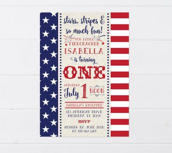 4th Of July Birthday Invitation Party First