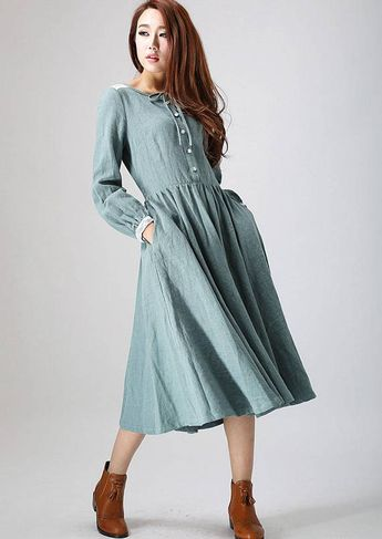 f1f19de4a6 Charming dress, linen dress, midi dress with lace detail on shoulder and  cuff,