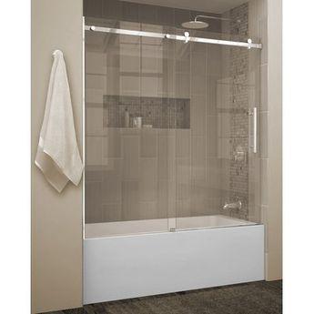 "Jade Bath Quartz 60"" x 66"" Single Sliding Frameless Tub Door"