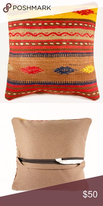 """Handmade Kilim Pillow // Decorative // Vintage Brand new handmade decorative pillow, created out of a 40+-year-old vintage kilim loomed in Anatolia and beyond.   Fabric: Vintage Kilim (40 years & older) & cotton back Size: 18"""" sq (due to the handmade nature of the pillows, the actual size might vary .5""""-1"""" but they all fit 18"""" sq inserts) Condition: New & one-of-a-kind  *While the pillows are brand new, the kilim that covers them are used vintage.  *Insert NOT included* Caria Accessories"""