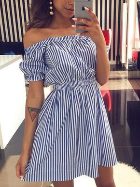 Pinstriped Bardot Puff Sleeve Mini Dress