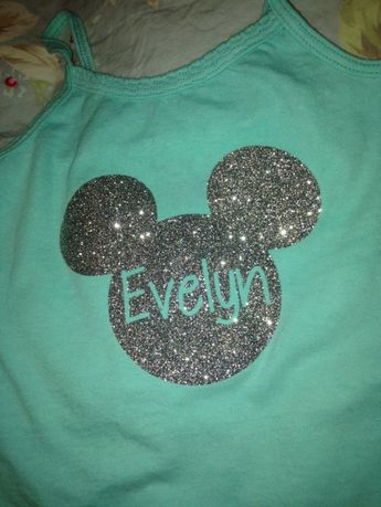 Personalized Iron On Disney World Mickey Heat Transfer Vinyl decal applique for T-shirt or bag- custom. $6.00, via Etsy. by rosalind