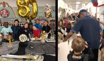 Watch 800 Elementary School Students Stage Big Surprise for Their Janitor on His 80th Birthday