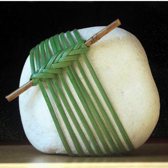 """Dekorativní kámen \""""Bambusový háj\"""" - těžítko, rattan rock, bambus rock, decoration stone, paper weight, woven, paper weight, nature, natural"""
