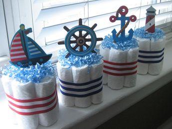 Nautique couche Mini gâteaux/Diaper Cake ensemble de 4/Ohé, c'est une garçon couche Mini gâteau/couche gâteau/couche Mini gâteaux à couches/décoration de gâteau