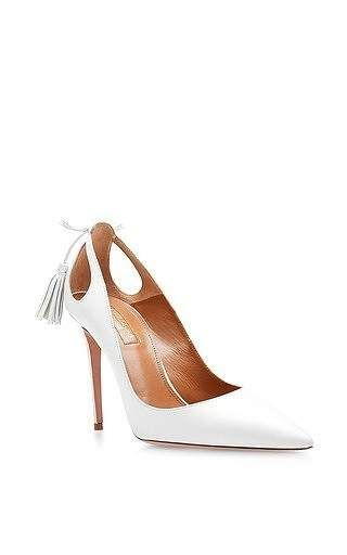 Aquazzura - Forever Marilyn White Leather Pumps with Cut-Out on Moda Operandi
