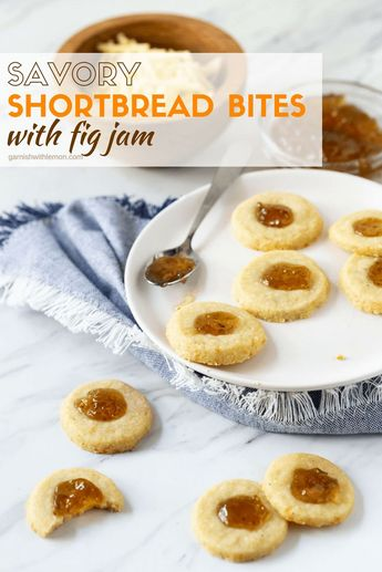 These Savory Shortbread Bites with Fig Jam are the perfect nibble for happy hour. Make them ahead of time as they can go straight from freezer to oven! #appetizers #homemadecrackers #bluecheese #shortbread