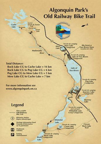 Old Railway Bike Trail Map in Algonquin Park