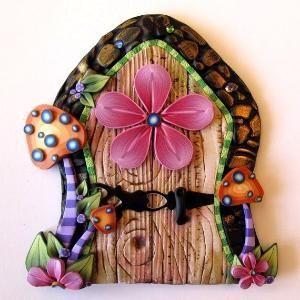Toadstool Fairy Door Pixie Portal Kids Room Decor via Etsy by elma
