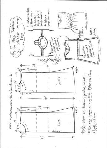 5918f09022 Vestido com manga japonesa e elástico na cintura - DIY- marlene mukai - molde  infantil