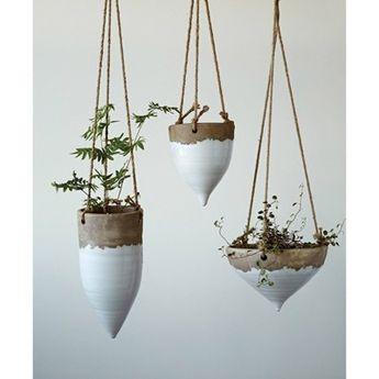 """Jute Hanging Planter (8.5"""") - 3R Studios, White"""