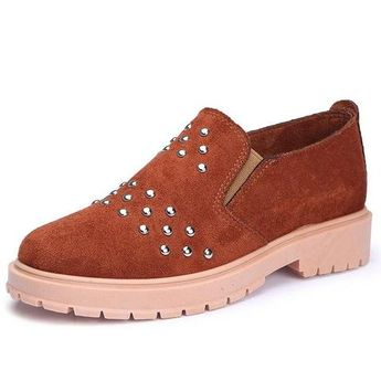 Buckle Loafers Slip Female Shoes