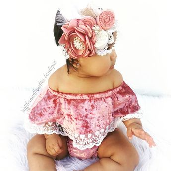 What is sweeter than this soft velvet dusty rose romper. Featuring delicate lace details and a trendy off the shoulder style for your little fashionista. This will soon become your favorite style. @rufflesandbowtiebowtique #babyvelvetromper #Offtheshoulderjumpsuit #babysummerclothes