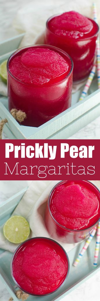 Frozen Prickly Pear Margaritas - fresh prickly pears, lime juice, and tequila! Is there anything better than a gorgeous pink margarita?!