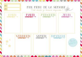 Planning vierge menu de la semaine