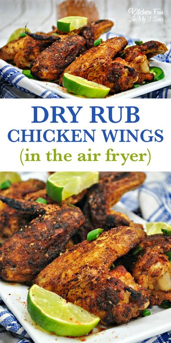 Air Fryer Dry Rub Chicken Wings recipe #airfryer #dryrub #chickenwings #bbq #food #foodblogger #recipe