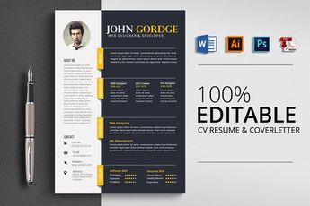 CV/Resume  Specification  CMYK Color Mode 300 DPI Resolution -Size 8.5x11 3 mm bleed Features  Easily customization Editable Text Layers Smart Object Layer to Put Images Well Organized Layer Free Fonts are Used Professional and clean files search tag: #Word #Professional #Reusme #Design - Resumes