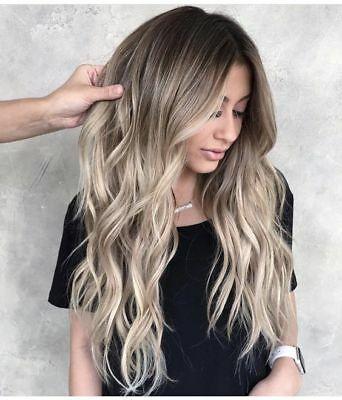 Virgin Brazilian Remy Human Hair Wigs Light Ash Blonde Wavy Full Lace Front Wigs  | eBay