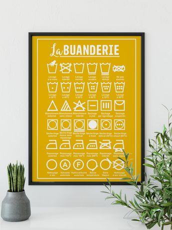Une jolie affiche buanderie avec les instructions de lavage : une affiche jolie ET pratique ! #affichebuanderie  #posterbuanderie #decobuanderie #decorationbuanderie
