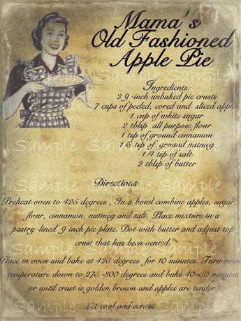 Primitive Apple Pie Recipe Feedsack Logo Pantry Jar Crock Crate Jar Label Jpeg Digital File