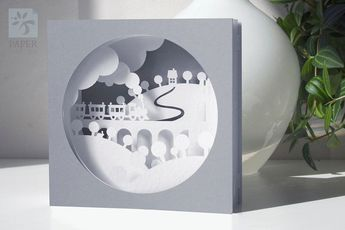 "Papercut Template Tunnel card ""Train"", Instant Download, SVG, PDF, DIY, Cut&Glue Own 3d Pop-up Card"