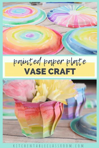 Colorful Painted Paper Plate Vases