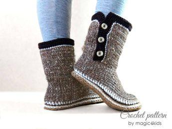 d5c253d79dc31 Crochet pattern- men basic clogs with rope soles,soles pat