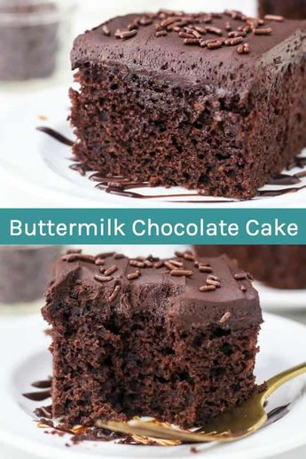 This homemade buttermilk chocolate cake recipe is a moist, fluffy chocolate cake with a dark chocolate buttermilk frosting. #buttermilkchocolatecake #buttermilkchocolatecakerecipe #chocolatecakerecipe #easychocolcatecakerecipe #chocolatebuttermilkcake