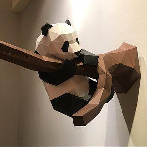 DIY Papercraft Panda, Panda Papercraft 3D, DIY Gift, Lowpoly Papercraft, 3D Paper Sculpture, Panda Paper Craft, 3D Origami, Panda Wall Decor