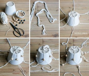 DIY macrame flower basket with wooden beads