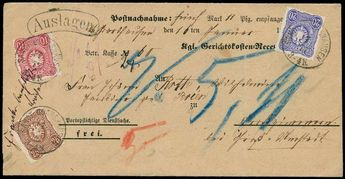 Michel. No. 33-35 cover, clean as Dreifarbenfrank. On forerunner of C.O.D covers SANCT GOARSHAUSEN 17 1 77 to LARGELY-ROOMS in very good pre...