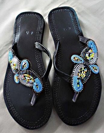 f3b93835e9f4 Arabesque - African Kenyan Handmade Leather Beaded Sandals
